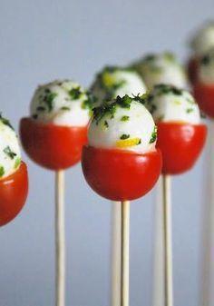 Caprese Pops : Cherry Tomato + Boccacino (little fresh mozzarella balls) + Olive Oil +Basil + Lemon Zest! #Appetizer #Caprese_Pops