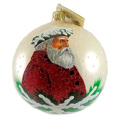 Christina's World Holly & Ivy Santa Glass Ornament Christmas Ball