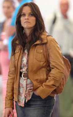 Reese Witherspoon Arrest Women Leather Jacket  Jacket Specification   Outfit type: Genuine Gender: Women Color: Brown Front: Front Zip Closure Collar: Shirt Style Collar Lining: Viscose Lining Cuffs: Zipper Cuffs Pockets: Front pockets
