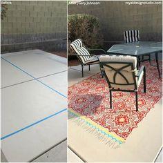 Backyard Stencils: Cheapest DIY Renovation Ideas with Floor Stencils – Royal Design Studio Stencils Stencil Painting, Paint Stencils, Floor Painting, Painting Concrete, Moroccan Wall Stencils, Porch Paint, Stained Concrete, Concrete Floor, Backyard Renovations