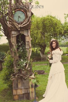 Beautiful gorgeous clock, alice in wonderland feel! A Styled Vintage Shabby Chic Wedding Yurt Shoot