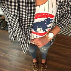 Cubs Game Outfit + Baseball + Gingham