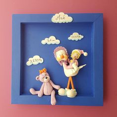 Cadre naissance personnalise en porcelaine froide de Patapascale Pasta Flexible, Polymer Clay, Bb, Crafts, Wall Decor, Frames, Hand Crafts, Easy Crafts, Cloth Art Dolls