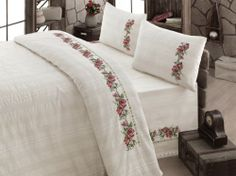 Items similar to Bedding Set Unbleached Cotton Buldan Linen Natural Organic , COTTON, Natural , RED flower embroidered bedding SET on Etsy Bed Covers, Duvet Cover Sets, Natural Duvet Covers, Stitch Crochet, Embroidered Bedding, Crochet Bedspread, Cross Stitch Rose, Home Textile, Bed Spreads