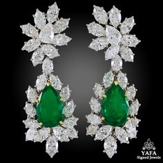 HARRY WINSTON Diamond, Pear-Shaped Emerald Ear Clips