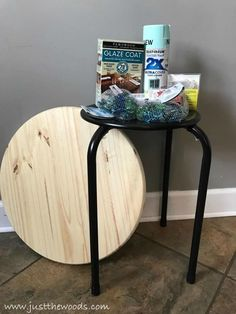 Learn to build your own DIY mosaic table with glass gem stones and led lights sealed with an epoxy glaze,