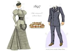 A fashionable couple of the 1890s | Gabi's Paper Dolls