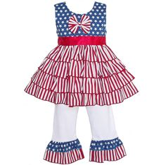 AnnLoren Girls 4th of July Flag Cotton Rumba Outfit