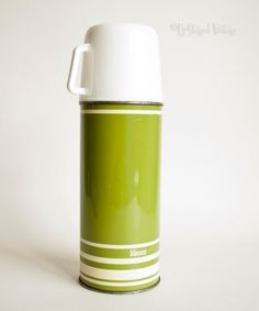 Vintage Retro 1960s/70s GREEN & White VACCO Thermos Flask (17.00 GBP) by UpStagedVintage
