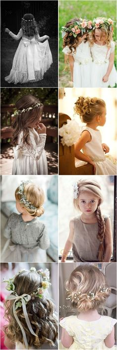 Flower Girls » 22 Adorable Flower Girl Hairstyles to Get Inspired » ❤️ See more: http://www.weddinginclude.com/2017/04/adorable-flower-girl-hairstyles-to-get-imspired/ #weddinghairstyles
