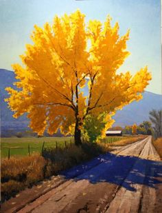 Douglas Aagard created this lovely painting featuring a great tree. I don't know precisely the type of tree but I love the painting! Easy Landscape Paintings, Landscapes, Landscape Photos, Fine Art, Oeuvre D'art, Watercolor Paintings, Tree Paintings, Canvas Paintings, Farm Paintings
