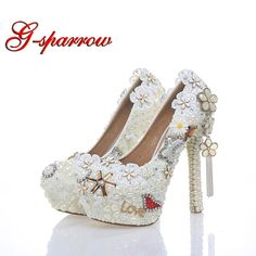 4b74070faf6f 2018 Classic Wedding Dress Shoes White Pearl Bride Shoes Party High Heels 5  Inches Heel Top Grade Leather Pumps Rhinestone