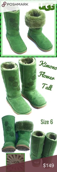 UGG Kimono Flower Tall Boots ~ Artichoke ~ RARE- 6 Very rare and so unique UGG Kimono Flower tall books in artichoke green, size 6.  They are in excellent, gently worn, supper clean condition. Please note:  although they are marked a size 6, UGG boots are made to fit comfortably and flexibly.  They fit my foot and I wear a size 7.5 - 8!  The photos used are that of the actual boots, too, not stock photos. UGG Shoes Winter & Rain Boots