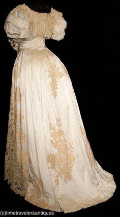 Glorious c1904 Battenberg Lace Silk Faille Gown