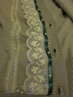 DIY:  Customizing a Cardigan Sweater, since I don't sew, somebody should do this for me...