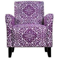 Jewel-tone damask chair with purple Purple Love, All Things Purple, Shades Of Purple, Purple Stuff, Periwinkle, Lilac, Purple Furniture, Cool Furniture, Patterned Furniture