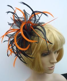 New Black Deep Bright Orange Chiffon Feather Fascinator Hat Comb Wedding Races Ebfas 004