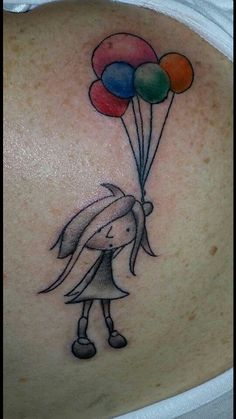 Girl with Balloons tattoo. Balloons represent family I have lost. Pink one is for baby girl