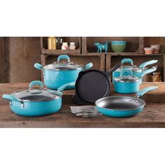 """This product is made of enameled porcelain and features a convenient non-stick interior. It includes an 8"""" cast iron frying pan, 9.5"""" frying pan, 1.1-quart saucepan and a 2.5-quart saucepan. It also features a 5.5-quart Dutch oven and a 4.2-quart jumbo cooker.   eBay!"""