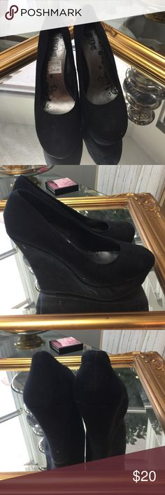 Black pumps Black faux suede pumps size 9. Literally worn once and put in a box. Original price tag on them. Shoes Wedges