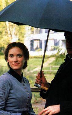 "Winona Ryder as ""Jo"" in Little Women, here with co-star Gabriel Byrne"