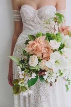 wedding flowers + rue de seine wedding gown