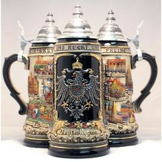 Zoeller & Born Rustic Deutschland Germany City with Pewter Eagle LE German Beer Stein 1 L $204.99