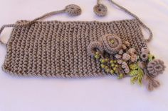 Hand knitted and Crocheted Pale Olive Scarf by levintovich