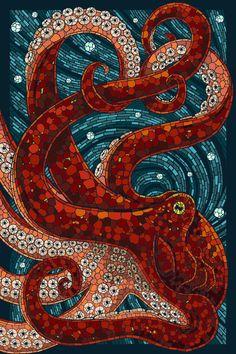 Ośmiornica - artystyczna mozaika w kolorze czerwonym i niebieskim.  https://www.facebook.com/CeramikaParadyz