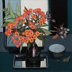 artists inspired by nature including Criss Canning: Gum Blossom from Mollongghip… Australian Painting, Australian Artists, Flower Vases, Flower Art, Floral Illustrations, Illustration Art, Anime Comics, Save On Crafts, Still Life Art