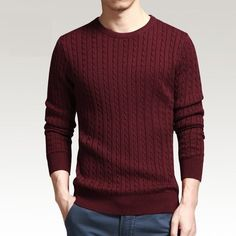 gentclothes: Wine Red Cable-Knit Sweater - Moda Trends Magazine