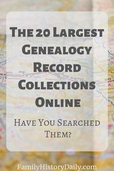 The 20 Largest Genealogy Record Collections Online: Have You Searched Them? There are literally billions and billions of genealogy records now available online. From the huge databases of paid subscription sites like Ancestry and MyHeritage, to the varied Free Genealogy Records, Free Genealogy Sites, Genealogy Forms, Genealogy Chart, Family Genealogy, Genealogy Humor, Ancestry Records, Family Tree Research, Genealogy Organization