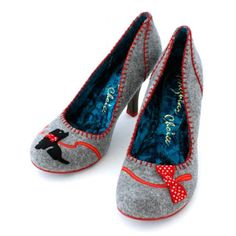 shoes- terrier on a red leash gray wool pumps. So adorable!!!:-) :-) :-) :-)