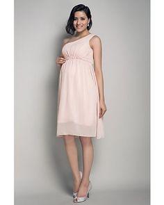 Pearl Pink Empire One-shoulder Chiffon Short Maternity Wedding Dress | LynnBridal.com