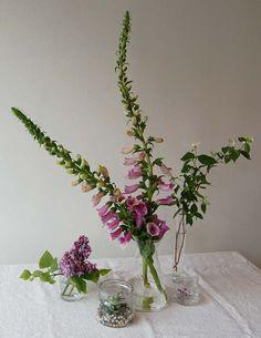 """DIY Floral Lab"" by Grace Bonney on Design Sponge. Floral grouping including foxglove, lilac"