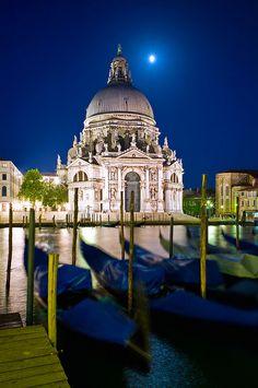 View over Canal Grande on Santa Maria della Salute at night - Venice - Italy