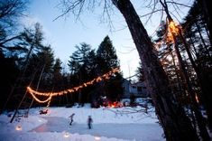 Beautiful Winter Backyards | winter ice skating party | Home for the Holidays