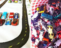Racetrack painted on butcher paper for activity