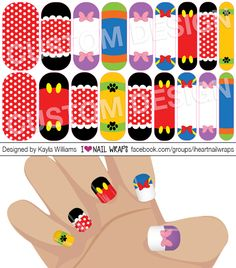 Disney Fab 5 Clubhouse inspired Jamberry NAS Nail Wrap Design. The whole gang is here, including Minnie Mouse, Mickey Mouse, Donald, Daisy, Pluto, and Goofy! #iheartnailwraps #nailart #naildesigns #jamberry #jamicure #nails #prettynails #disney #minniemouse #disneland #disneynails #fab5