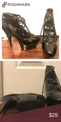 """Lace Up Sky High Dancer Shoes! These are the goth dancer shoes you've been looking for. Purchased for pole dancing lessons, used once. They are insanely comfortable, even at 6"""" plus. These will stun anyone! Shoes Heels"""