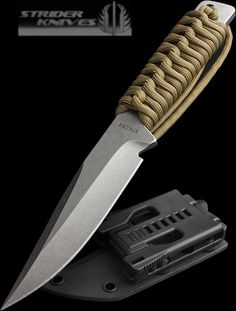 Strider with paracord-wrapped handle Cool Knives, Knives And Tools, Knives And Swords, Strider Knives, Survival Knife, Survival Items, Survival Gear, Throwing Knives, Combat Knives