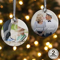LOVE LOVE LOVE this!!! Personalized 2-sided Photo Ornament ... this is perfect for engagement or wedding photos! Great wedding gift idea too!