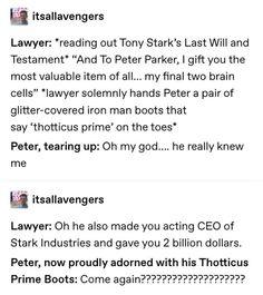 would happen, after death Tony gave into the memes Funny Marvel Memes, Marvel Jokes, Dc Memes, Avengers Memes, Marvel Dc Comics, Marvel Avengers, Geek House, Lol, Tony Stark