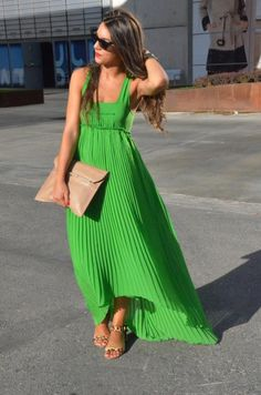 Green pleated maxi dress for summer