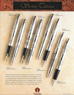 Namiki Sterling Collection Pilot Pens, Calligraphy Pens, Writing Instruments, Penne, Fountain Pens, Travelers Notebook, Notebooks, Collection, Beautiful