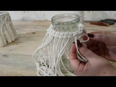 Step by step how to cover bottles with fine macramé/sailor's knots. 30 easy diy project to make and sell – Artofit ➰in progress macrame dreamcatcher – Artofit Cranking out macrame jars for my show in October. Macrame Design, Macrame Art, Macrame Projects, Micro Macrame, Candle Jars, Candle Holders, Macrame Patterns, Easy Diy Projects, Plant Hanger