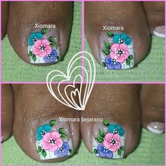 🙏☺☝💅❤👏 gracias padre Celestial 💕 French Pedicure, Pedicure Nail Art, Toe Nail Art, Spring Nails, Summer Nails, Nail Art Modele, Bella Nails, Floral Nail Art, Pretty Designs