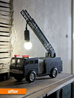 Before & After: Jasmine's Upcycled Toy Fire Truck Table Lamp | Apartment Therapy