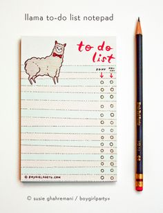 Llama To Do List Notepad by Susie Ghahremani / boygirlparty.com/splash/welcome.html | from http://shop.boygirlparty.com/splash/welcome.html/splash/welcome.htmlproducts/llama-to-do-list-notepad the boygirlparty shop http://shop.boygirlparty.com/splash/welcome.html/splash/welcome.htmlproducts/llama-to-do-list-notepad?variant=11712259015