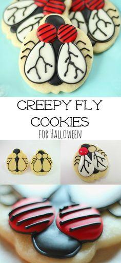 Creepy Fly Cookies via www.thebearfootbaker.com